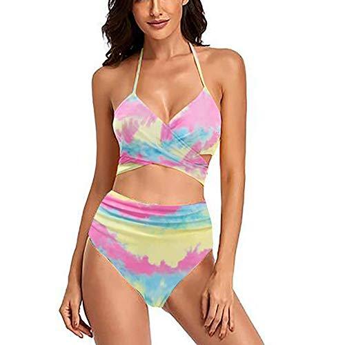 AFFGEQA Damen Bikini Set Push Up Zweiteilige Neckholder Gestreift Geblümt High Waist Split Badeanzug Bademode Bauchweg Swimsuit Strandmode