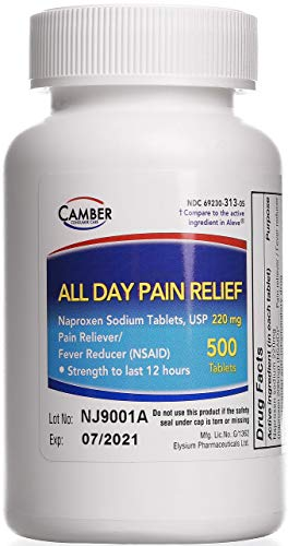 Naproxen Sodium Tablets (500 Count) Pain Relief: Minor Aches, Toothache, Headache, Menstrual Cramps, Fevers & More (NSAID), Strength to Last 12 Hours