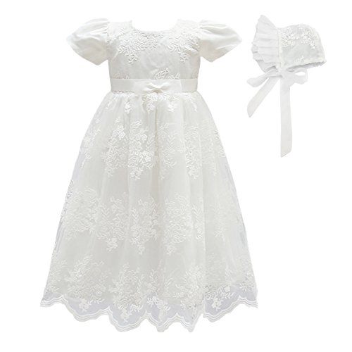 Glamulice Baby Girls Flower Christening Baptism Dress Formal Party Special Occasion Dresses for Toddler (6M / 6-12Months, White-2pcs)