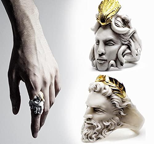 Anillo de mitología Griega Medusa Zeus, Anillo con Forma de Cabeza de Anciano exagerado, Anillo de Escultura Dorada Vintage Regalos