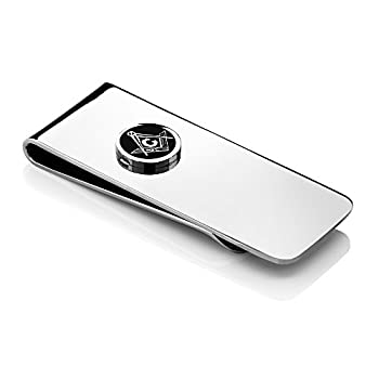 Gem Stone King 2.5 Inch Stainless Steel Masonic Freemason Square & Compass Men s Money Clip