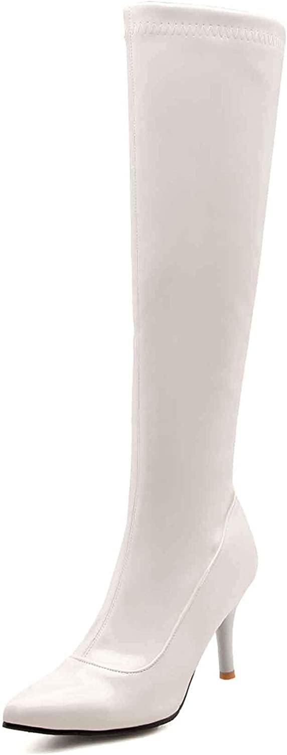 Unm Women's Stiletto Knee High Boots with Zipper - Sexy Burnished High Heels - Pointed Toe Tall Boots