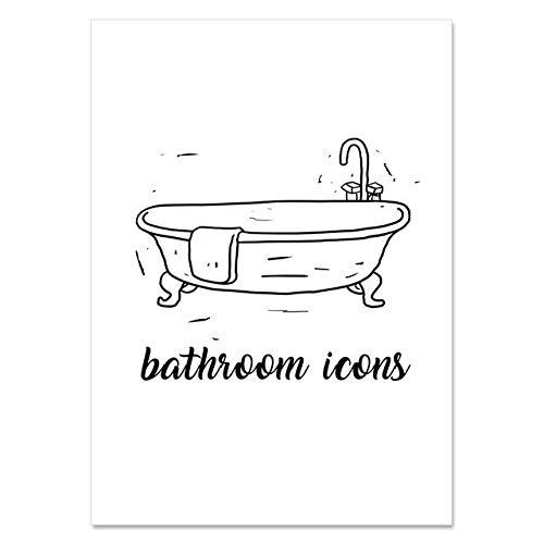 XCJX Badezimmer Symbol Druck Poster Zahnpasta Waschbecken Leinwand Wandkunst Nordische Wohnkultur Malerei modern für Schlafzimmer modulares Bild 40x50cm ohne Rahmen