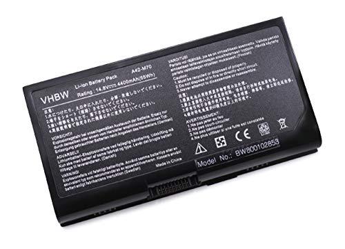 vhbw Li-ION Batterie 4400mAh (14.8V) pour Ordinateur Portable, Notebook ASUS F70, F70s, F70sl, G71, G71g, G71gx, G71v, G71vg comme A32-F70, A32-M70.