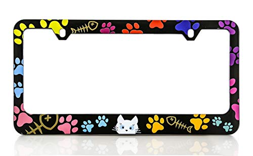 Baron-Jewelry Cat Lover License Frame. UV Printed Plastic. Standard US & Canada Size