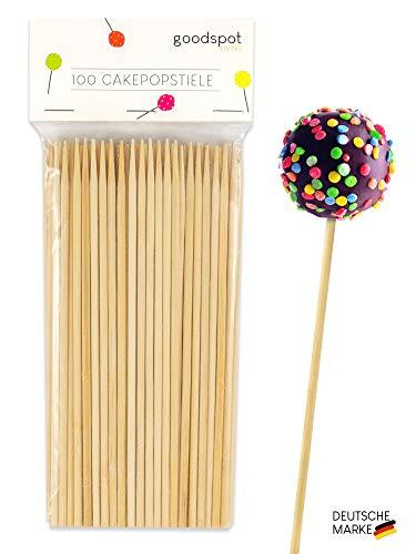 goodspot® Premium Cake Pop Stiel 100 Stück ideale Größe 17 cm für Cake Pop Ständer umweltschonende und kompostierbare Cakepop Stiele