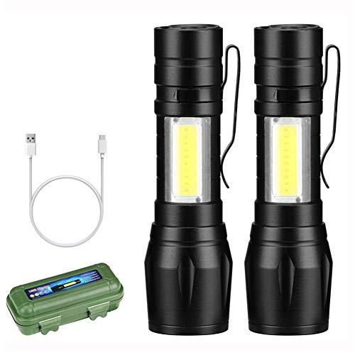 WXJY 2 oplaadbare zaklamp – zoombare led-zaklampen, ultra heldere 380 lumen, waterdicht, inbouwbatterij – handlicht voor wandelen, kamperen, reizen, noodgevallen en repareren