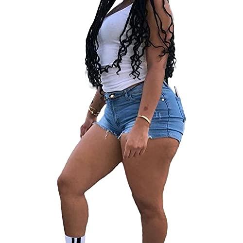 Pantalones Cortos de Mezclilla para Mujer Moda de Verano Pantalones Cortos Rectos Ajustados Informales Pantalones Cortos de Mezclilla Sexy Delgados de Moda S