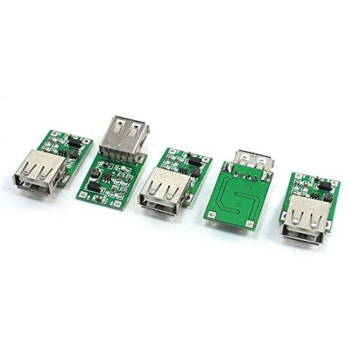Preisvergleich Produktbild Boost-Modul - TOOGOO(R) 5 Stuecke 0.9V zu 5V DC-DC Konverter USB Anschluss Step Up Boost Modul 600mA Gruen+Silber