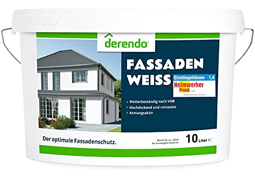 Derendo Fassadenfarbe weiß 10L, hoch wetterbeständige Fassaden Farbe, hohe Deckkraft, weiss matt