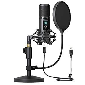 USB Microphone Kit, 192KHZ/24BIT MAONO AU-PM421T PC Condenser Podcast Streaming Cardioid Mic with mute button and gain knob Plug & Play for Computer, YouTube, Gaming Recording