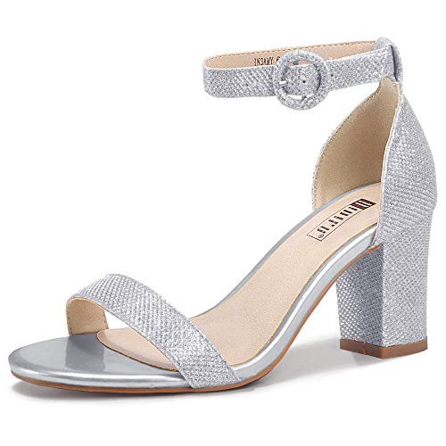 IDIFU Women's IN3 Amy Block Heels Sandals Comfy Ankle Strap Open Toe Chunky Wedding Dress Shoes with Round Buckle (Silver Glitter, 9.5 M US)