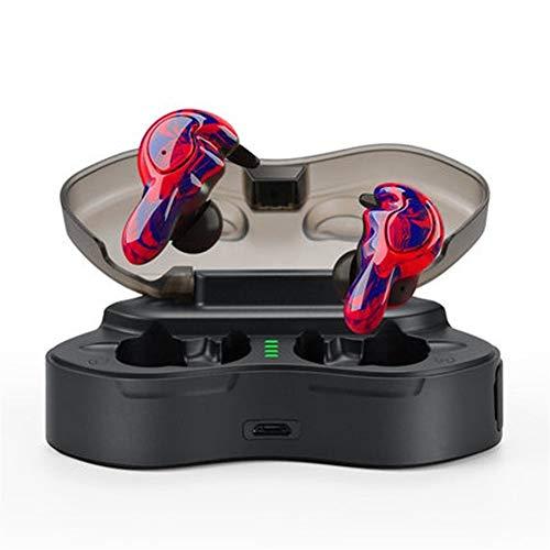HUOQILIN Auricular Inalámbrico Bluetooth del Oído Binaural Mini Pequeño Deportivo Invisibles Ejecutan Larga Espera (Color : Red)