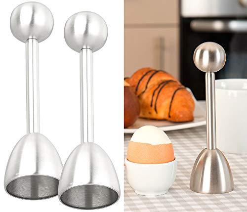 Rosenstein & Söhne Köpfer Eierschale: 2er-Set Eierköpfer und Eieröffner aus Edelstahl, für harte/weiche Eier (Eierschalensollbruchstellenverursacher)