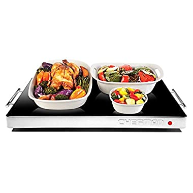 Chefman Electric Warming Tray / Trivet, Perfect For Buffets, Glass Top Large 21  x 16  Surface and Preset Thermostat to Keep Prepared Food Hot, Black - RJ22