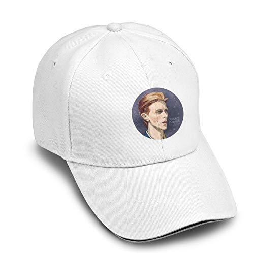 Nanabang David Bowie Portrait Art Drawing Artist Musician Adjustable Womens Mens Hat Cool Travel White