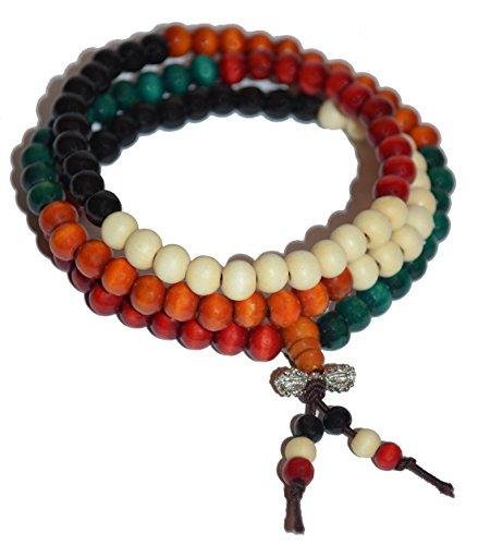 Mala-Kette aus Sandelholz - 108 perlen - 5 Farben - 6-mm Holzperlen - Länge 52 cm - buddhistische Gebetskette - Halskette - deutscher Händler - MIND...