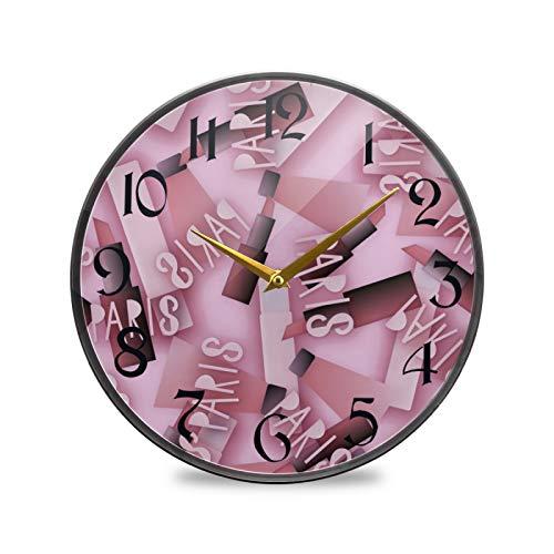 ART VVIES Reloj de Pared Redondo de 9,5 Pulgadas Que no Hace tictac silencioso Funciona con Pilas Oficina Cocina Dormitorio decoración para el hogar-lápiz Labial Rosa de Moda París