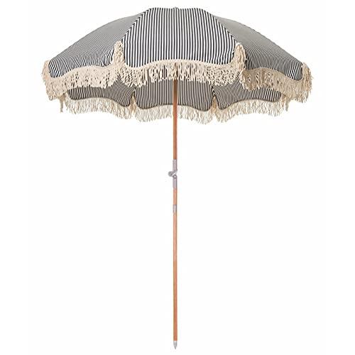 YIZHIYA Sombrilla de Jardín, Paraguas de Patio de Poste de Madera con Borla de Rayas, Sombrilla al Aire Libre inclinable Plegable a Prueba de Viento a Prueba de Lluvia, Sombrillas Decorativas