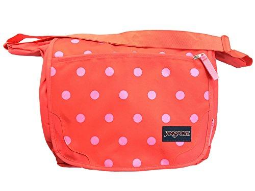 JanSport Elefunk-Printed Laptop Messenger Bag - Fluorescent Pink Coral Dusk Spots   13 H x 16 W x 5.5 D
