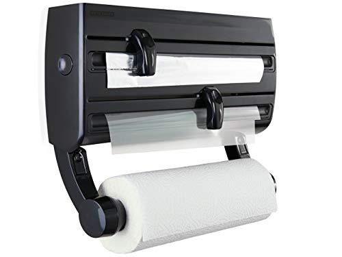Leifheit Portarrollos de pared Parat F2, sujeta rollos de cocina con especiero, portarrollos negropara film, papel de aluminio y papel de cocina