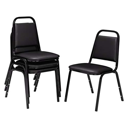 National Public Seating (4 Pack) NPS 9100 Series Vinyl Upholstered Stack Chair, Black Seat, Black Frame