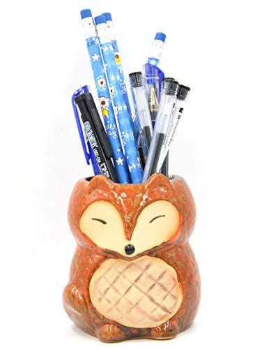MONMOB Ceramic Fox Pen Holder Pencil Cup Cute Brush Holder Remote Control Holder Fox Shaped Succulent Plant Pot Cactus Pot Desk Organizer Decoration