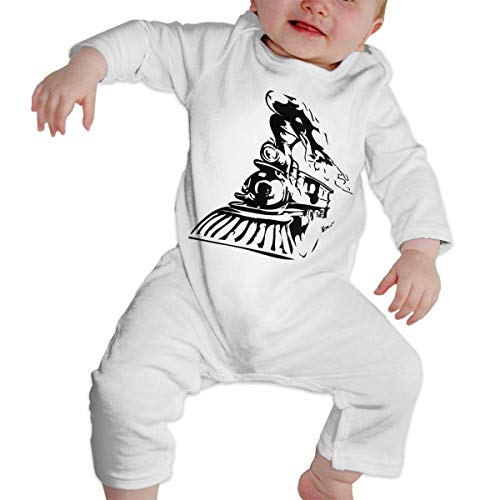 Moniery Steam Train and Railway 2 Long Sleeve Romper Bodysuits for Baby Boys