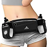 ANMRY Running Belt with Water Bottle,Running Hydration Belt Waist Packs Bag with Adjustable Belt | 2 Pockets | 2 10OZ Water Bottles for Running Hiking Cycling Marathon for 6.5 Inch Smartphones-Black