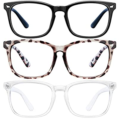 Blue Light Blocking Glasses - 3Pack Computer Game Glasses Square Eyeglasses Frame, Blue Light Blocker Glasses for Women Men, Anti Eye Eyestrain Reading Gaming Glasses Non Prescription