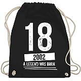 Shirtracer Geburtstag - 18 Geburtstag Jungs 2002 - Vintage Motiv - Unisize - Schwarz - 18 geburtstag - WM110 - Turnbeutel und Stoffbeutel aus Baumwolle