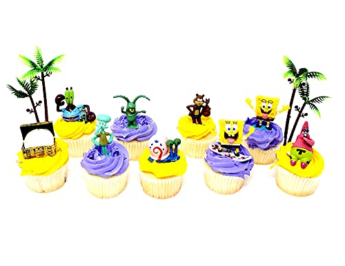 Spongebob Squarepants 11 Piece Birthday Cupcake Topper Set Featuring 2' to 3' Cupcake Toppers of Squidward, Sandy Cheeks, Patrick Star, Mr. Krabs, Plankton, Gary and More