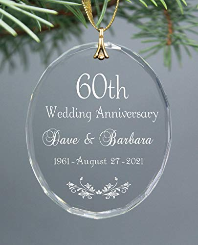 60th Wedding Anniversary Personalized Keepsake Glass Oval Christmas Ornament ANY Anniversary Year Available