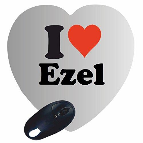 EXCLUSIVO: Corazón Tapete de ratón 'I Love Ezel' , una gran idea para un regalo para sus socios, colegas y muchos más!- regalo de Pascua, Pascua, ratón, Palmrest, antideslizante, juegos de jugador, cojín, Windows, Mac OS, Linux, ordenador, portátil, PC, oficina, tableta, Amo, Made in Germany.