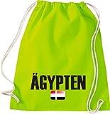Turn Bolsa Egipto País Países Fútbol, color lima, tamaño 37 cm x 46 cm