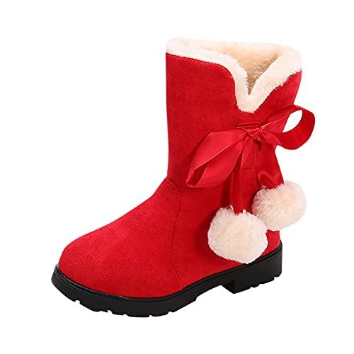 MRULIC Kinder Baby MäDchen Stiefel Mode Bowknot Baumwollstiefel Schneestiefel Prinzessin Schuhe Schneestiefel Winterstiefel Geburtstag Geschenk(rot,27)