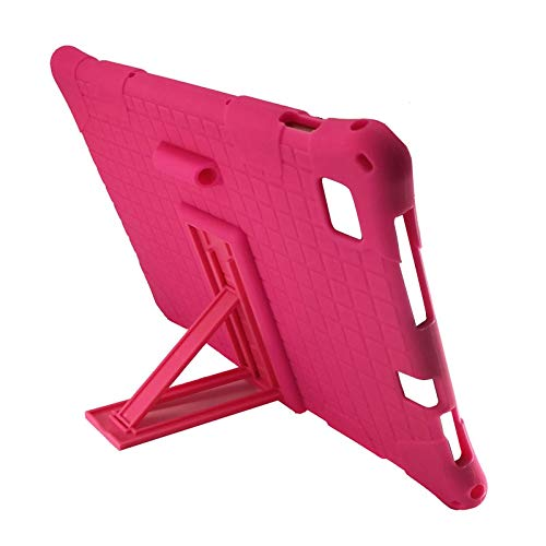 Luntus Funda de Tableta para Teclast M40 Teclast P20HD Funda de Silicona con ProteccióN de Tableta de 10,1 Pulgadas Soporte de Tableta Ajustable (Rosa Rojo)