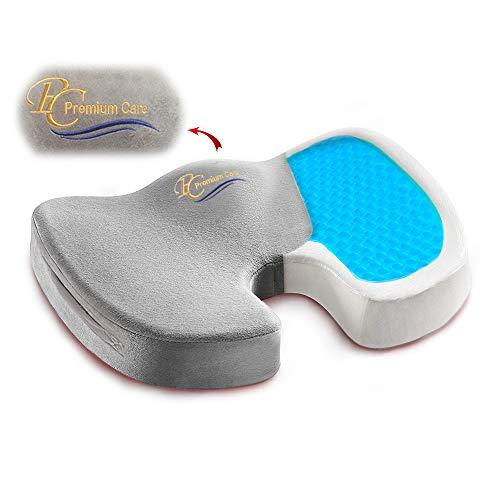 Premium Care Gel Enhanced Seat Cushion - Non-Slip Orthopedic Gel & Memory Foam Coccyx Cushion for Tailbone Pain - Sciatica & Back Pain Relief - Office Chair & Car Seat Cushion
