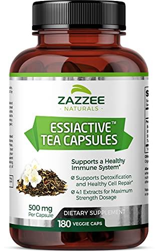 Zazzee Essiac Tea, 180 Vegan Capsules, 500 mg per Capsule, Potent 4:1...