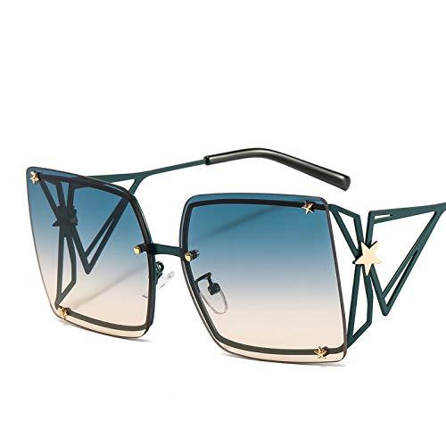 SXRAI Gafas de Sol cuadradas de Gran tamaño para Mujer Gafas de Sol para Mujer Uv400 Verde Rojo Hombre,C3