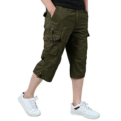 KEFITEVD 3/4 Hose Herren Cargo Shorts Lang Bermuda Dreiviertel Hose mit Mutil Taschen Baumwolle Sommerhose mit Gummizug Armeegrün EU 32, CN L