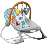 INFANTSO Baby Rocker & Bouncer (Blue) Foldable, Portable with Calming Vibrations & Toy