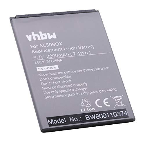 vhbw Li-Ion Akku 2000mAh (3.7V) kompatibel mit Handy Smartphone Handy Archos 50b Neon, 50b Neon 4G Ersatz für AC50BNE, AC50BNE 1ICP5/56/78