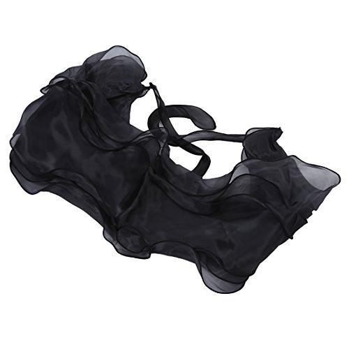 Chal Estola Bolero Organza Vestido Boda Fiesta Encaje Negro para Mujer