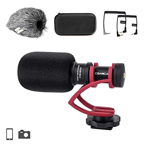 Comica CVM-VM10II Full Metal Compact On Camera Cardioid Directional Mini Shotgun Video Microphone for Smartphone iPhone,Huawei,DJI Osmo,for SonyA9/A7RII/A7RSII,GH4/ GH5, and DSLR Camera(Red)