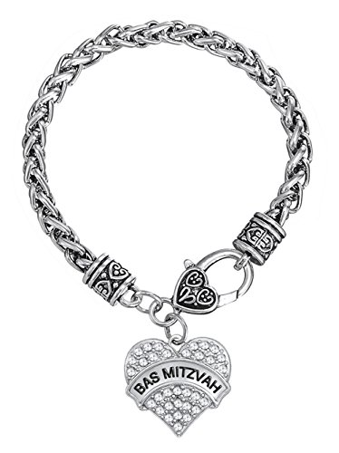Lemegeton Bas Mitzvah - Pulsera de Cadena de Trigo con Colgante en Forma de corazón para Mujer y niña, joyería de Regalo
