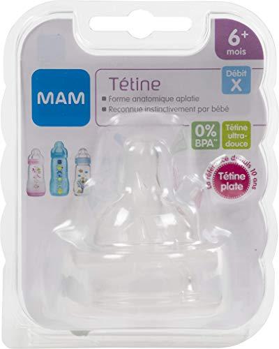 MAM Lot de 2 Tétines Anatomiques en Silicone 6+ mois Débit X Ultra-rapide, tétine plate et ultra-douce pour bébé