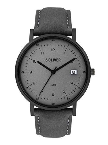 s.Oliver Herren Analog Quarz Uhr mit Echtes Leder Armband SO-3995-LQ