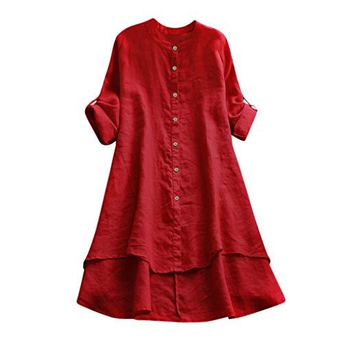 VJGOAL Damen Kleid, Damen Lässige Retro-Baumwolle und Leinen Knopf Lange Tops Bluse Lose Lange Ärmel Mini Hemd Kleid (44, X-Baumwolle-Rot)