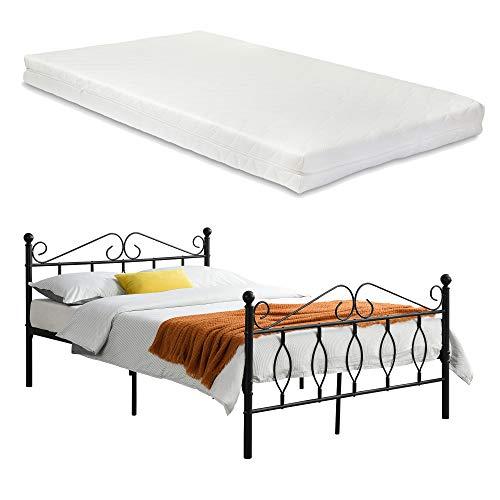 [en.casa] Metallbett Apolda 140x200 cm Jugendbett mit Matratze und Lattenrost Doppelbett mit Kaltschaummatratze bis 300kg Schwarz